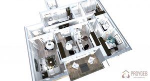 Plano 3D Residencial Parque Universidad